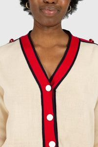 Light beige and red contrast trim cardigan5