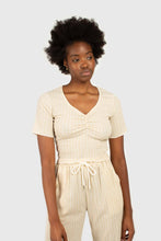 Load image into Gallery viewer, Beige gingham ruched neck tee3