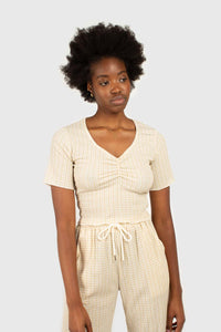Beige gingham ruched neck tee3