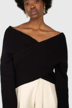 Load image into Gallery viewer, Black cross front panel knit top2