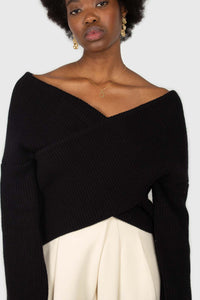 Black cross front panel knit top2