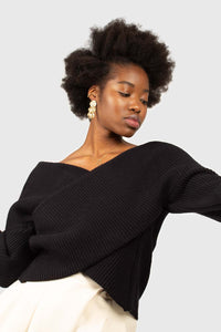 Black cross front panel knit top3
