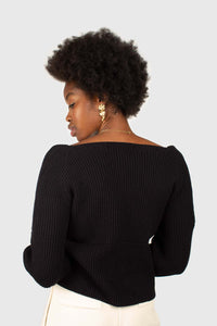 Black cross front panel knit top4