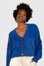 Load image into Gallery viewer, Bright blue fuzzy tortoise shell button cardigan1