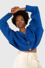 Load image into Gallery viewer, Bright blue fuzzy tortoise shell button cardigan2