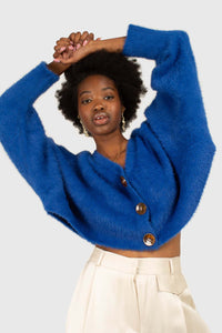 Bright blue fuzzy tortoise shell button cardigan2