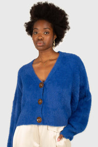 Bright blue fuzzy tortoise shell button cardigan4