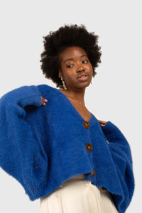 Bright blue fuzzy tortoise shell button cardigan6