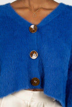 Load image into Gallery viewer, Bright blue fuzzy tortoise shell button cardigan8