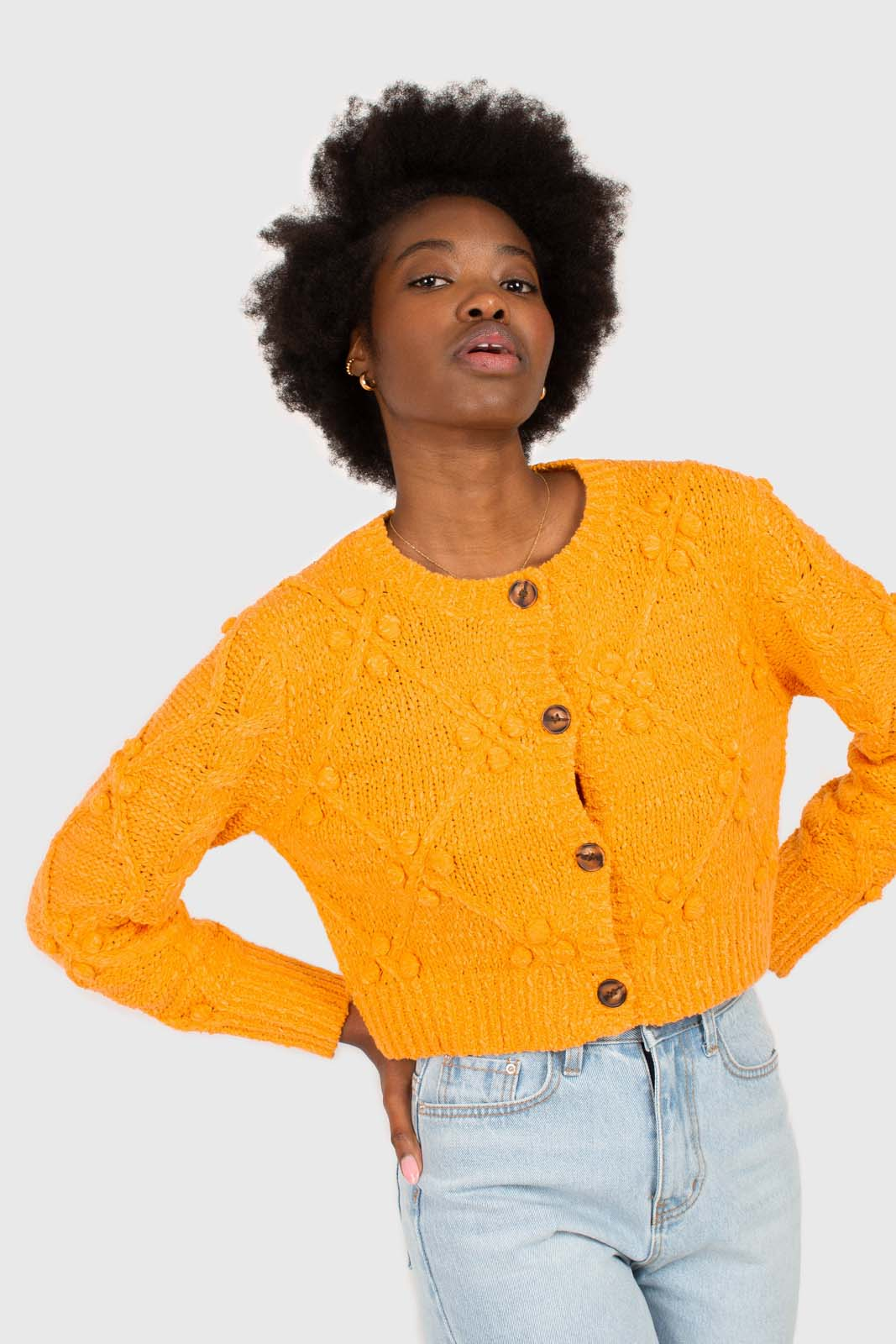 Bright orange bobble knit cardigan1