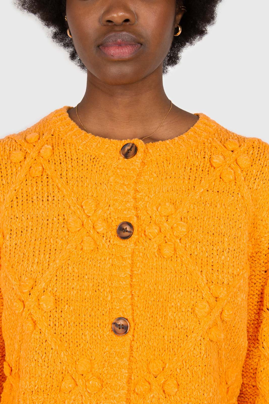 Bright orange bobble knit cardigan2
