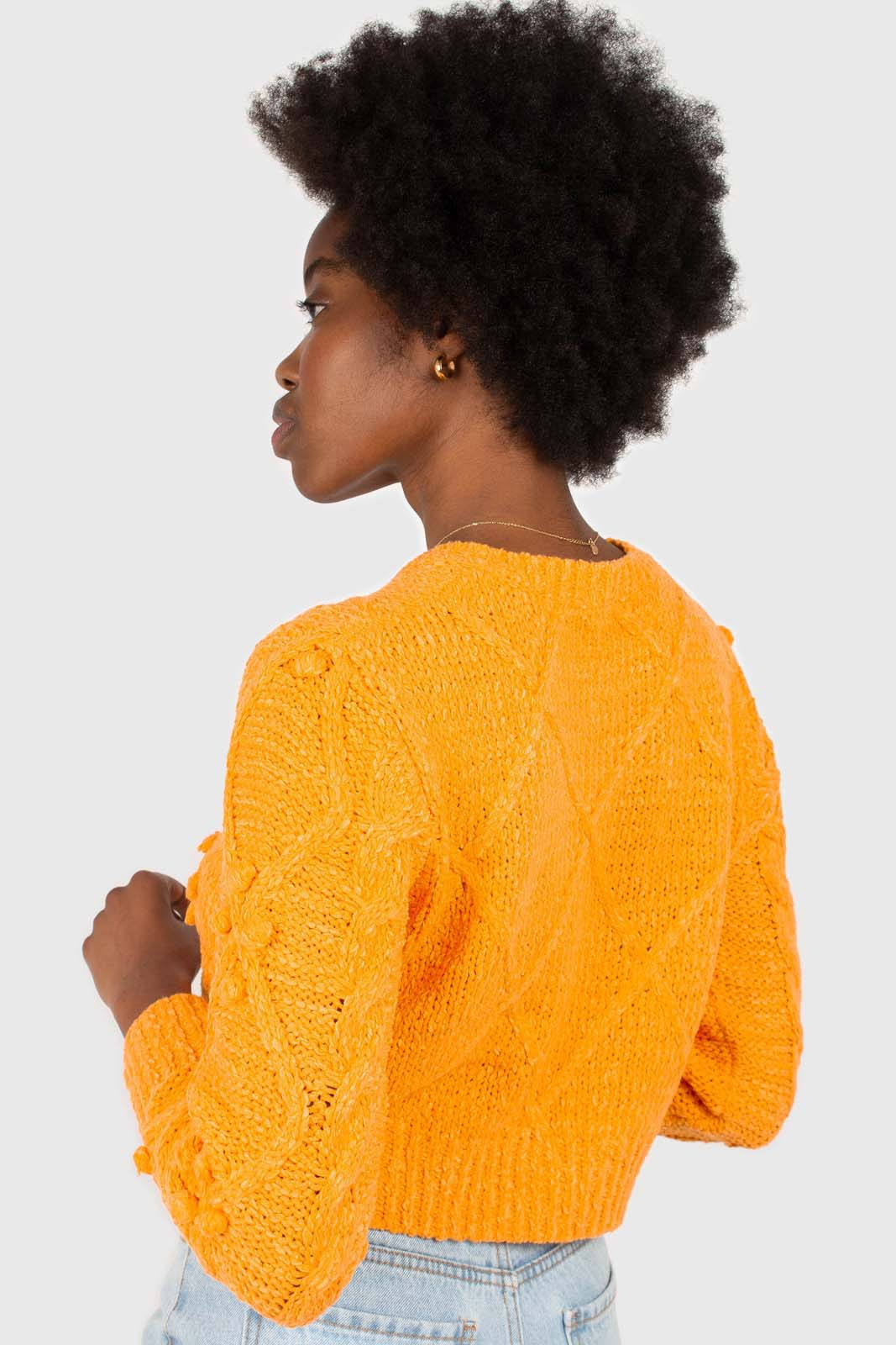 Bright orange bobble knit cardigan3