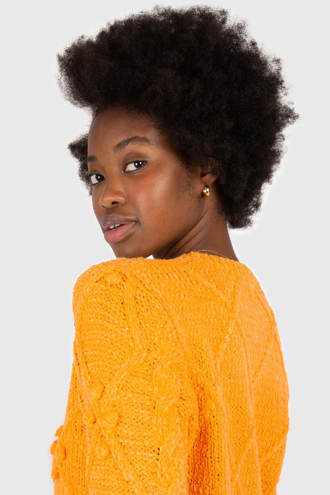Bright orange bobble knit cardigan4