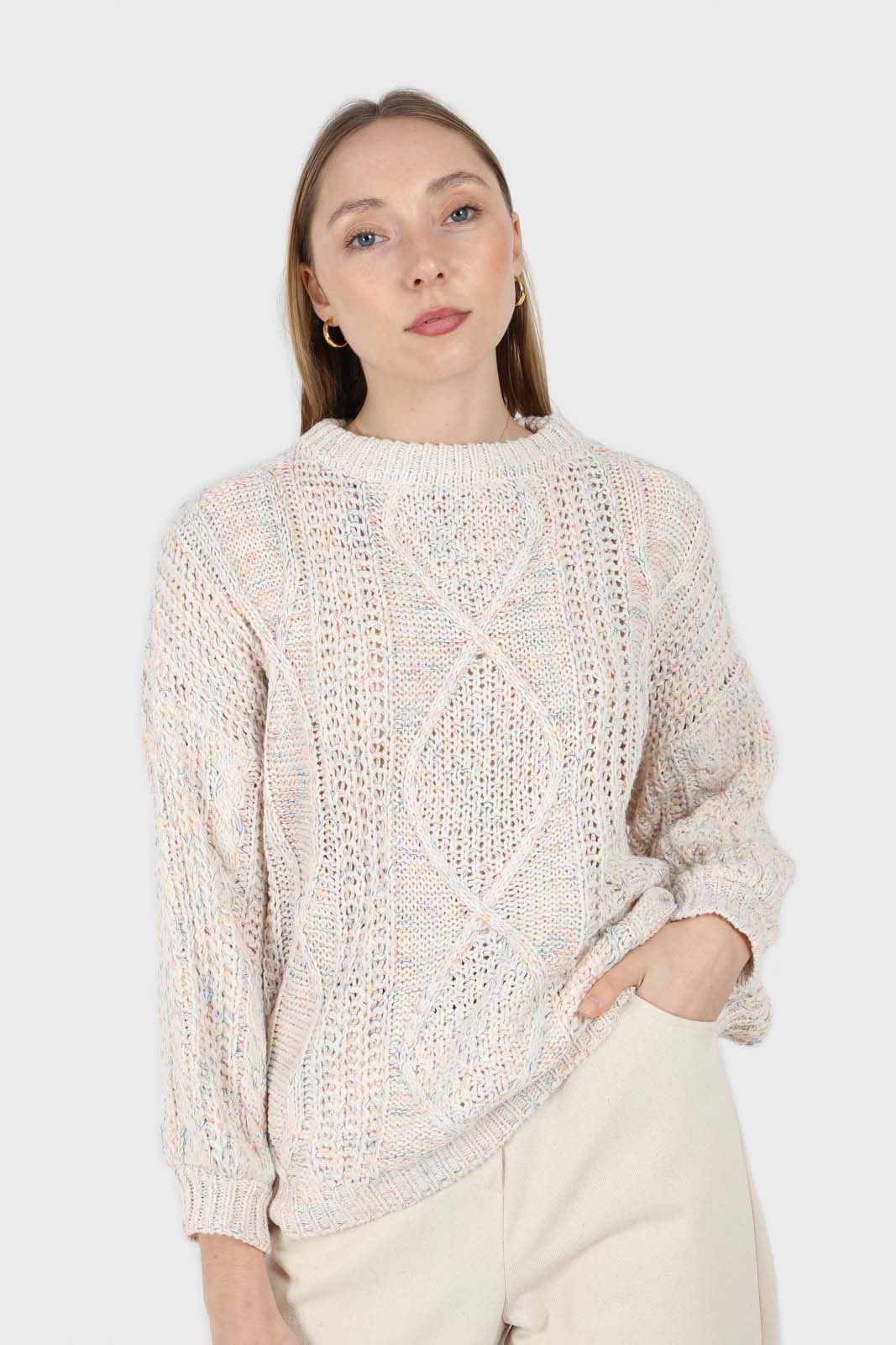 Ivory rainbow fleck oversized balloon sleeve jumper1