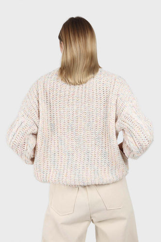 Ivory rainbow fleck oversized balloon sleeve jumper4