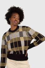 Load image into Gallery viewer, Black wool blend multicolor block check jumper3