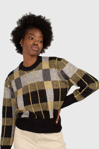 Black wool blend multicolor block check jumper3