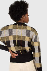 Black wool blend multicolor block check jumper4