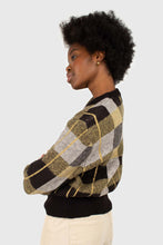 Load image into Gallery viewer, Black wool blend multicolor block check jumper5