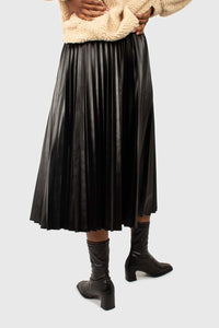 Black vegan leather pleated midi skirt2