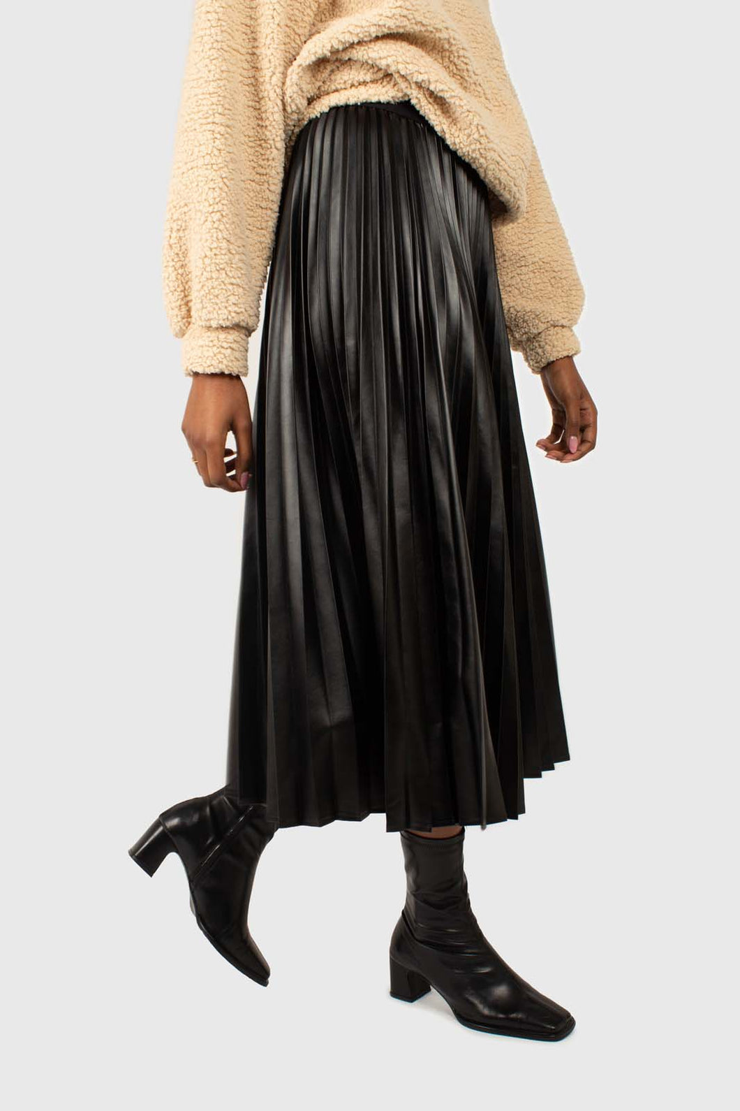 Black vegan leather pleated midi skirt