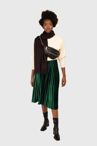 Green velvet pleated midi skirt1