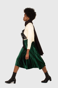 Green velvet pleated midi skirt2