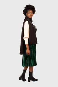 Green velvet pleated midi skirt3