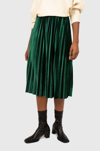 Green velvet pleated midi skirt4