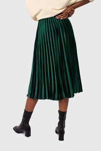 Green velvet pleated midi skirt5