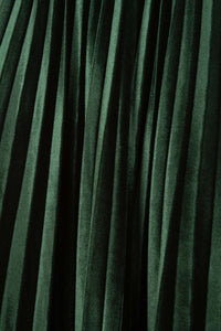 Green velvet pleated midi skirt6