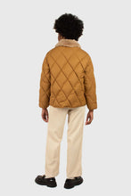 Load image into Gallery viewer, Brown faux fur collar diamond puffer jacket4