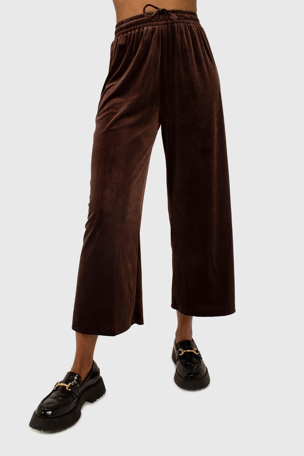 Brown velvet loose fit trousers1
