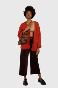 Brown velvet loose fit trousers2