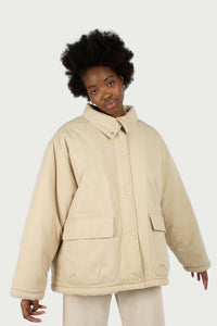 Beige teddy trim loose fit short parka4