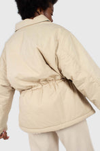 Load image into Gallery viewer, Beige teddy trim loose fit short parka6