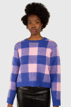 Load image into Gallery viewer, Bright blue and pink block plaid jumper1