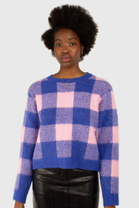 Bright blue and pink block plaid jumper1