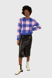 Bright blue and pink block plaid jumper2