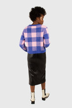 Load image into Gallery viewer, Bright blue and pink block plaid jumper3