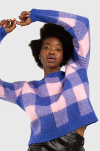 Bright blue and pink block plaid jumper4