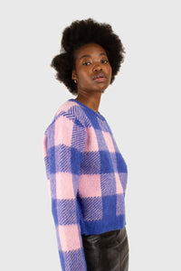 Bright blue and pink block plaid jumper5