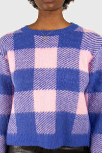 Bright blue and pink block plaid jumper6