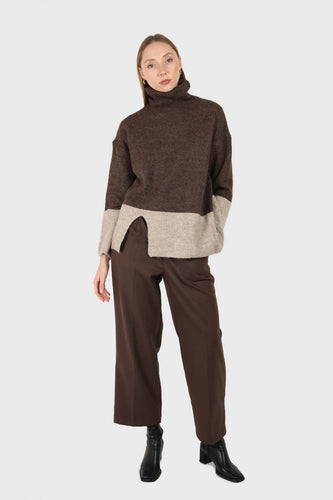 Brown and beige colorblock front slit jumper1