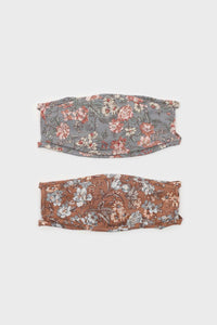 Brown and large blue floral print face mask3