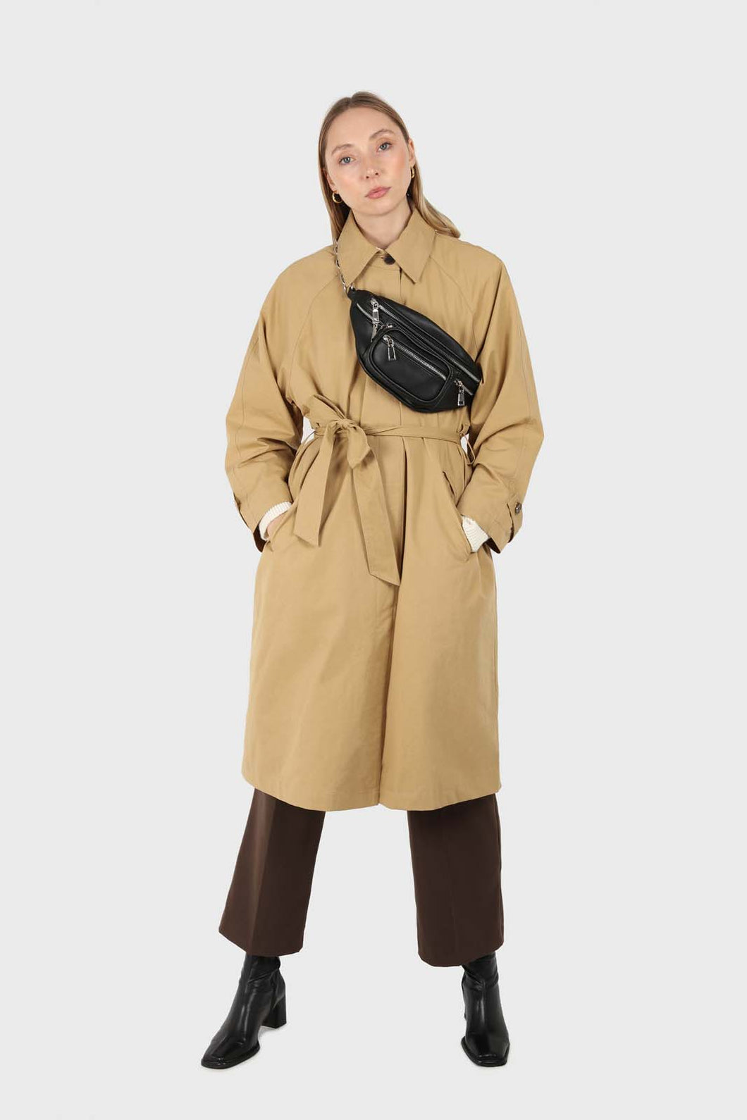 Dark beige single breasted hidden button trench coat1