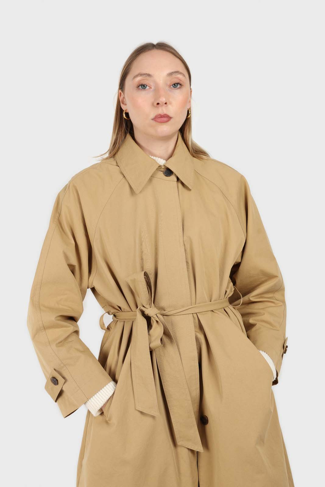 Dark beige single breasted hidden button trench coat2
