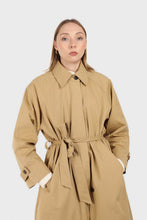Load image into Gallery viewer, Dark beige single breasted hidden button trench coat2