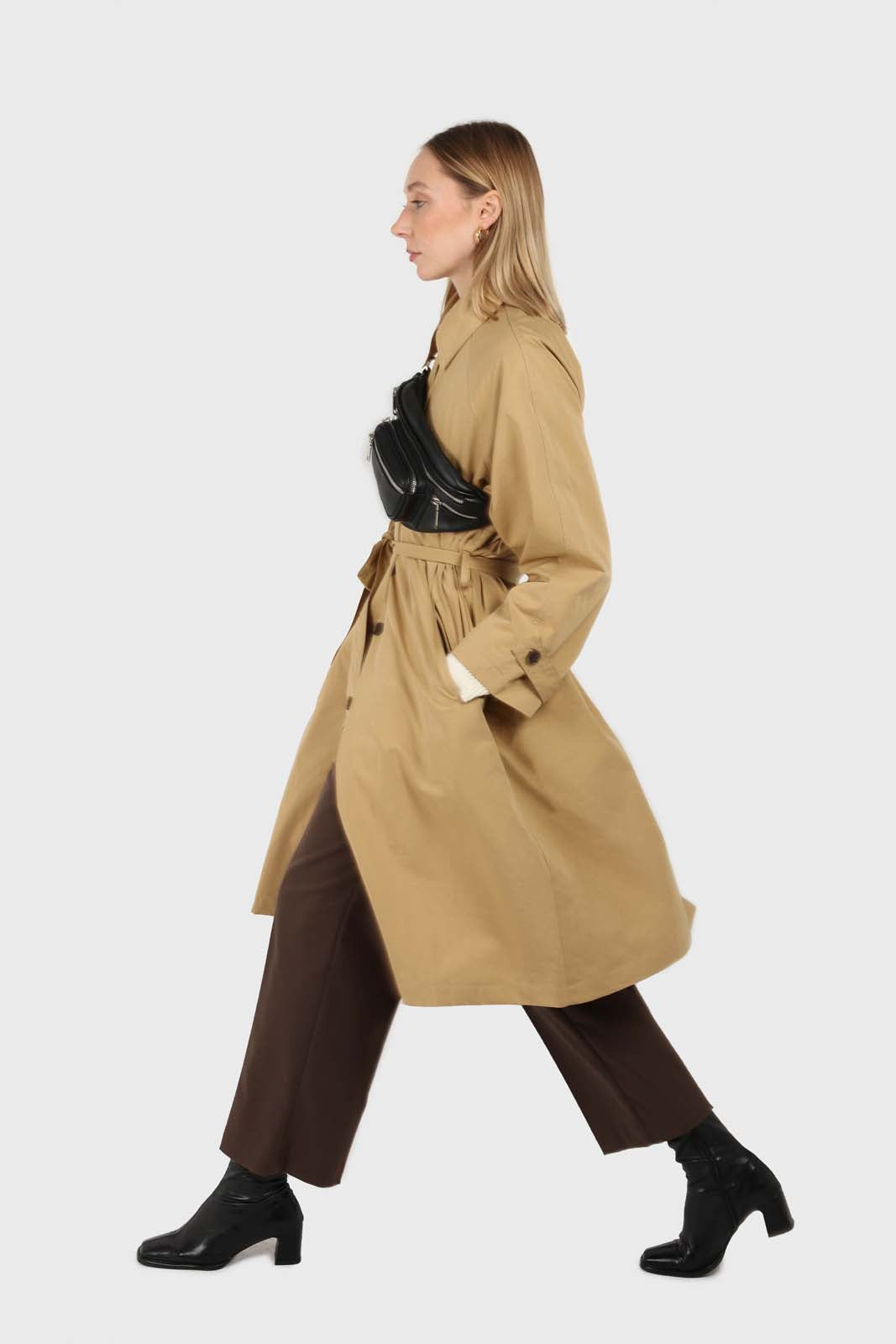 Dark beige single breasted hidden button trench coat3