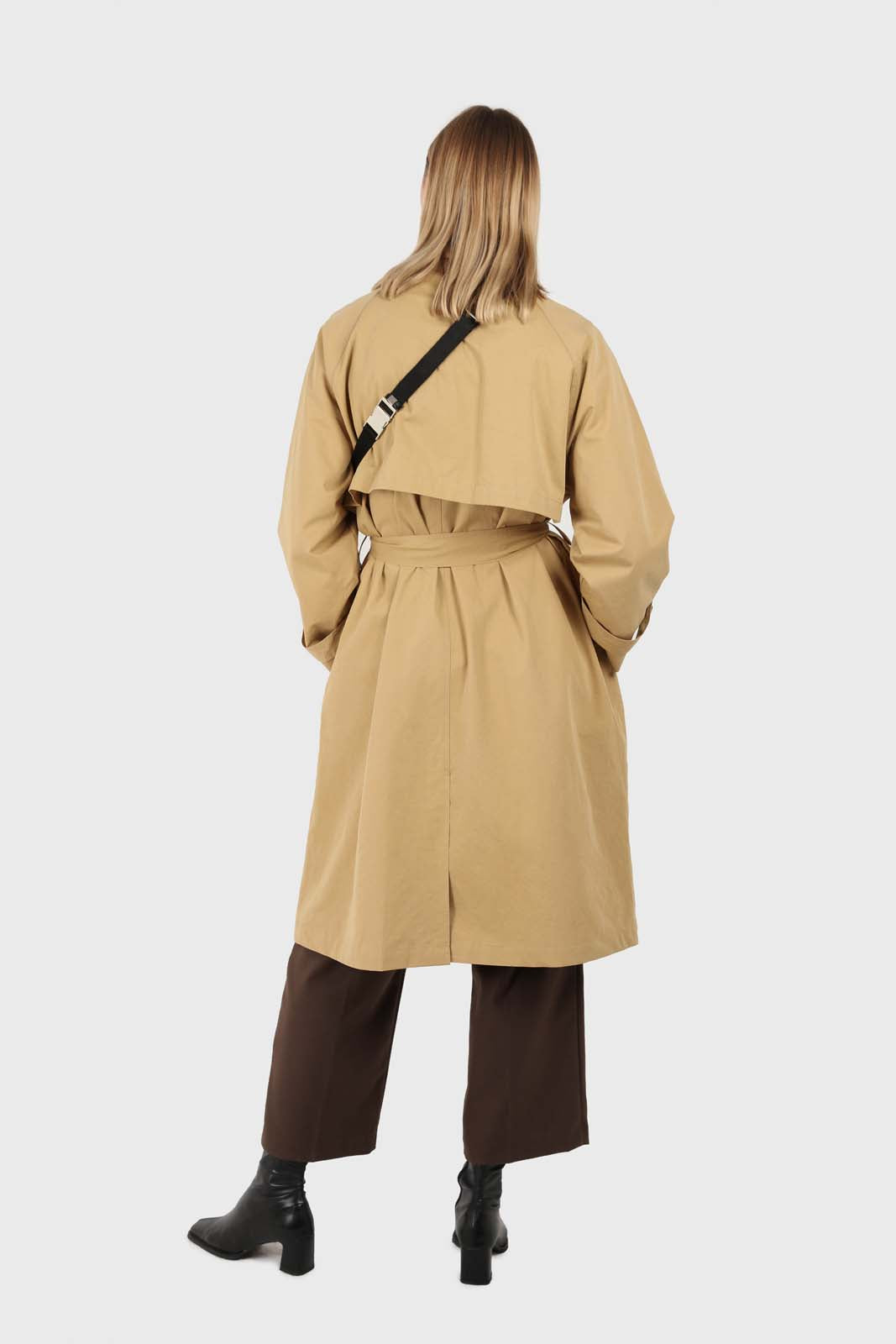 Dark beige single breasted hidden button trench coat4